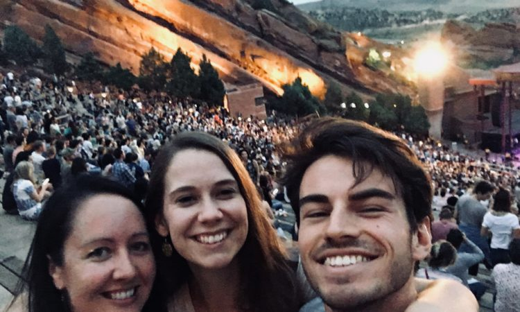 Two other Fulbright recipients from NZ, and me, at Red Rocks, Colorado, August, 2018 . Photo credit: Melissa Derby.