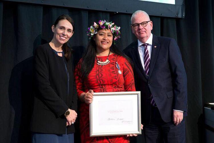 Recieving the 2018 inaugural Te Tohu Tūmatanui o Aotearoa New Zealand Public Service Medal. Photo credit: Matalena Leaupepe
