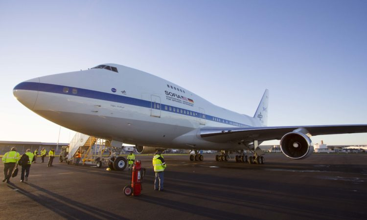 NASA's SOFIA plane sitting on the tarmac at Christchurch International Airport. Photo credit: U.S. Department of State.