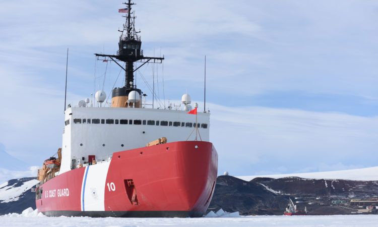 The Coast Guard Cutter Polar Star is hove-to in McMurdo Sound, Antarctica, fast ice near the National Science Foundation's McMurdo Station, Feb. 2, 2016. The U.S. Coast Guard is uniquely equipped and trained to operate in the austere and unforgiving Antarctic environment. (U.S. Coast Guard photo by Petty Officer 2nd Class Grant DeVuyst)
