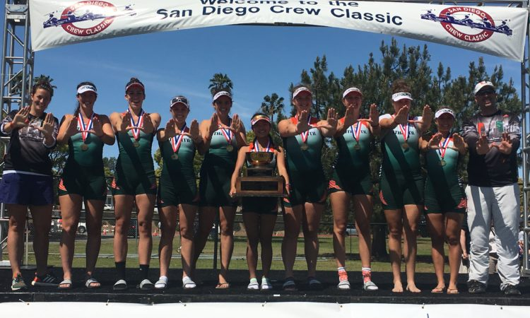 The Sarah Aschebrock and the University of Miami Women's Rowing bring home the cup at the San Diego Crew Classic. Photo Credit: Sarah Aschebrock.