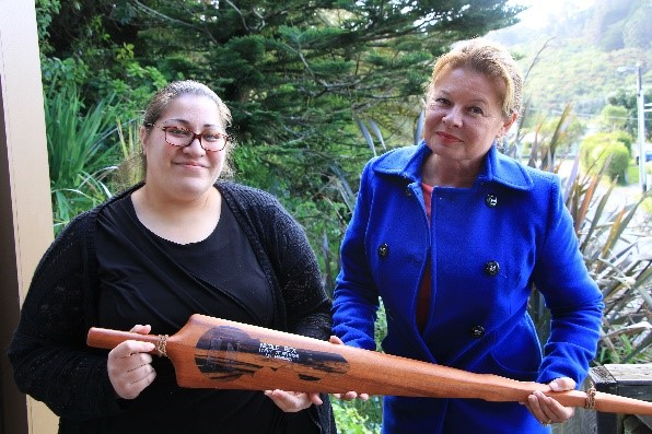 Nicole Rex and Mrs Brown with a Niue Sika(Spear)
