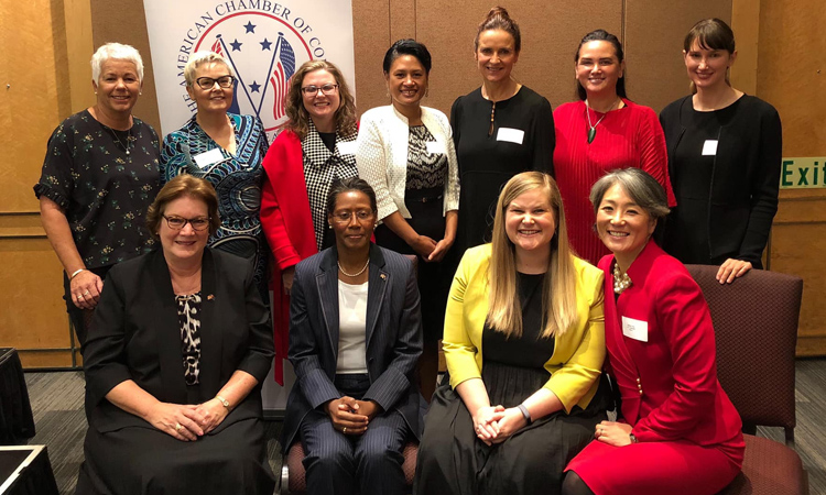 The American Chamber of Commerce Women's Chapter debuted this morning at a sold out launch . Photo credit: U.S. Department of State.