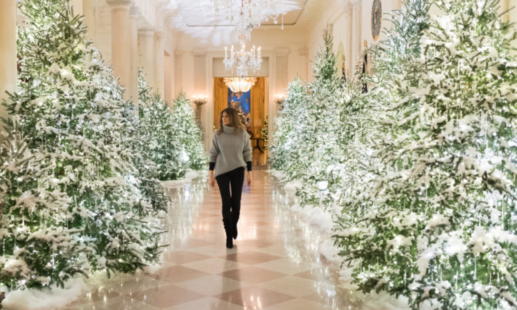First Lady Melania Trump examines the lighting decorations along the State Floor of the White House, Sunday evening, November 26, 2017, in Washington, D.C. (Official White House Photo by Andrea Hanks)