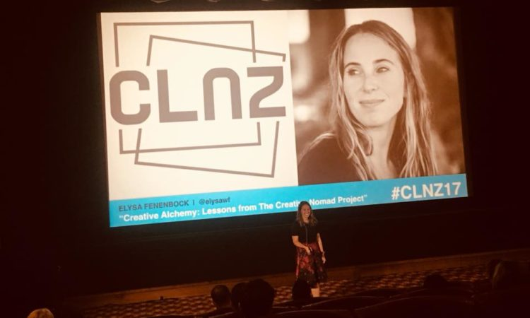 Elysa Fenenbock speaking at CLNZ 2017. Photo credit: U.S. Department of State.