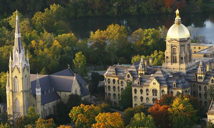 Aerial view of main campus quad (credit: University of Notre Dame).