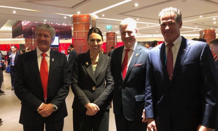 Great bilateral meeting between the NZ PM Jacinda Ardern and U.S. National Security Advisor Robert O'Brien at the ASEAN Conference. Photo: MP Damien O'Connor (Minister of State for Trade and Export Growth), PM Jacinda Ardern, U.S. National Security Advisor Robert O'Brien, and U.S. Ambassador Brown.