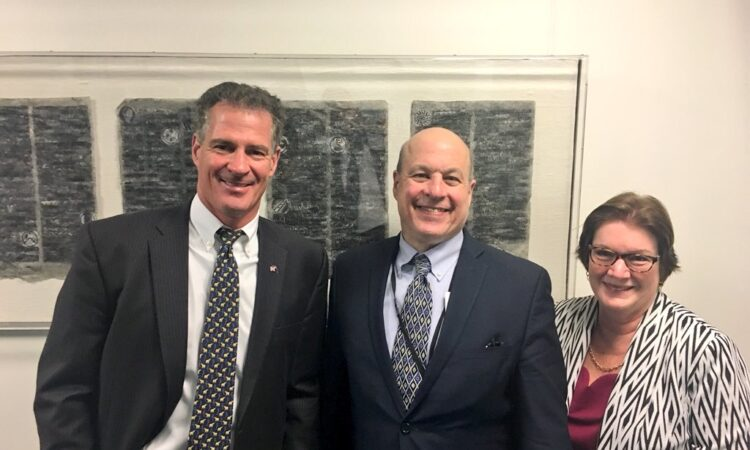 Former Deputy Assistant Secretary of State for the Bureau of East Asian and Pacific Affairs, Matt Matthews (centre) in New Zealand back in 2018 - pictured with Ambassador Scott Brown and Former Deputy Chief of Mission, Susan Niblock. Photo credit: Department of State.