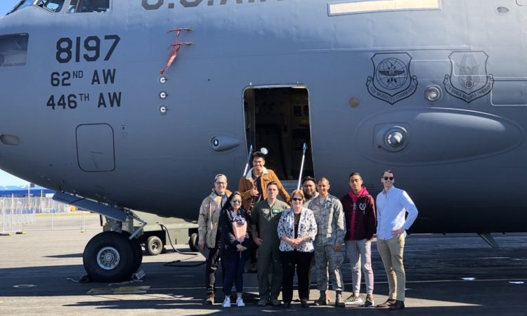 Chargé d'affaires Susan Niblock had a busy morning with young Pasifika changemakers like Josiah, Maria, Wesley, Viane, and Okirano from Pylat Council for a VIP C-17 tour and Antarctic Centre visit. Photo credit: U.S. Department of State.