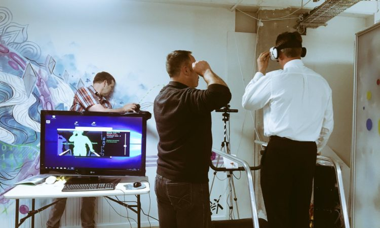 The Ambassador trying the #VRkiwi #walkinginVR hardware at ProjectR - he picked it up quickly! Photo credit: ProjectR.