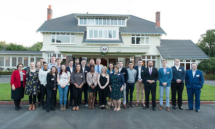 US NZ Youth Council outside the Ambassador's residence. Photo credit: U.S. Department of State.