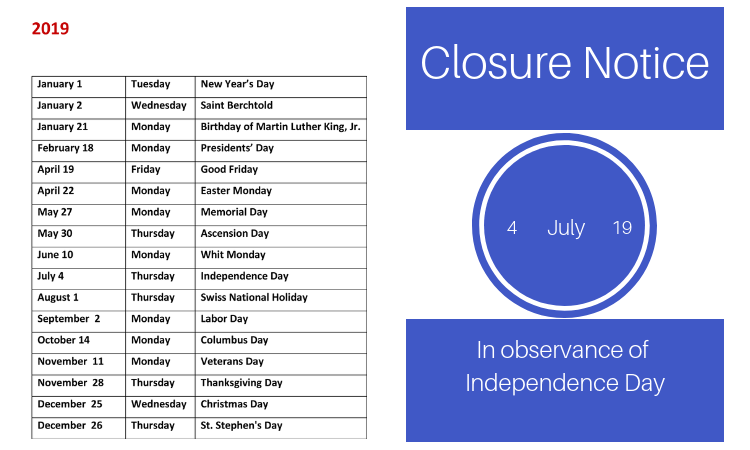 Closure Notice For Independence Day 2019 U S Embassy In