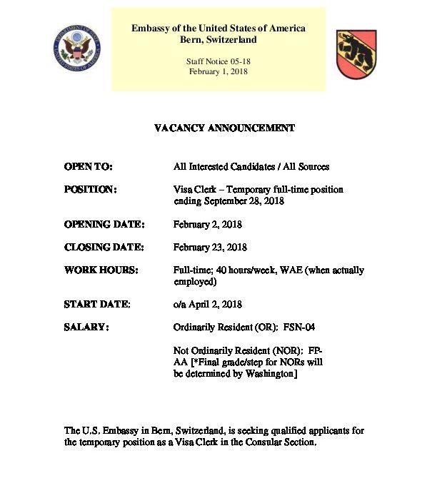 SN05-18 Job Vacancy Announcement for Temporary Visa Clerk
