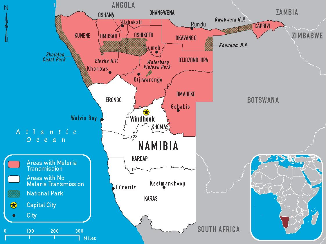 Malaria Karte.Malaria Map For Namibia U S Embassy In Namibia