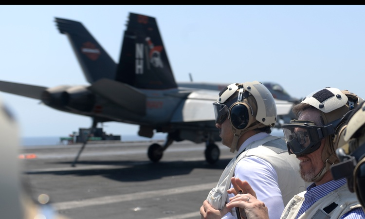 Observing operations from the USS Nimitz flight deck, one of the largest aircraft carriers