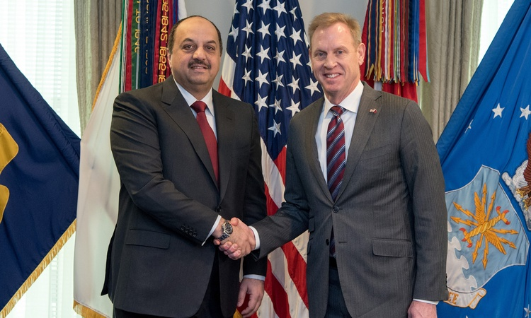 Acting U.S. Secretary of Defense Patrick M. Shanahan meets with the Qatar Minister of State for Defence Affairs Khalid bin Mohammad Al Attiyah at the Pentagon in Washington, D.C., March 12, 2019. (DoD photo by U.S. Army Sgt. Amber I. Smith)