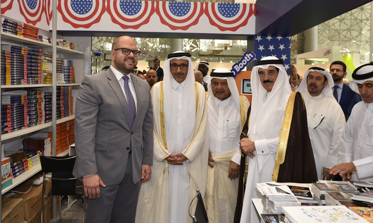 DCM Ryan Gliha with Former Minister of Culture H.E. Dr Hamad Bin Abdul Aziz Al Kuwari and Minister of Culture and Sports H.E. Mr Salah Bin Ghanim Al-Ali in the booth