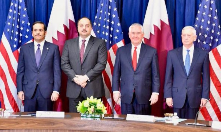 Secretary Tillerson poses for a photo with (L to R) Qatari Foreign Minister Sheikh Mohammed bin Abdulrahman Al Thani, Defense Minister Khalid bin Muhammad al-Atiyah, and U.S. Secretary of Defense James Mattis before the U.S.-Qatar Strategic Dialogue.