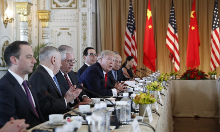 President Donald Trump speaks during a bilateral meeting with Chinese President Xi Jinping