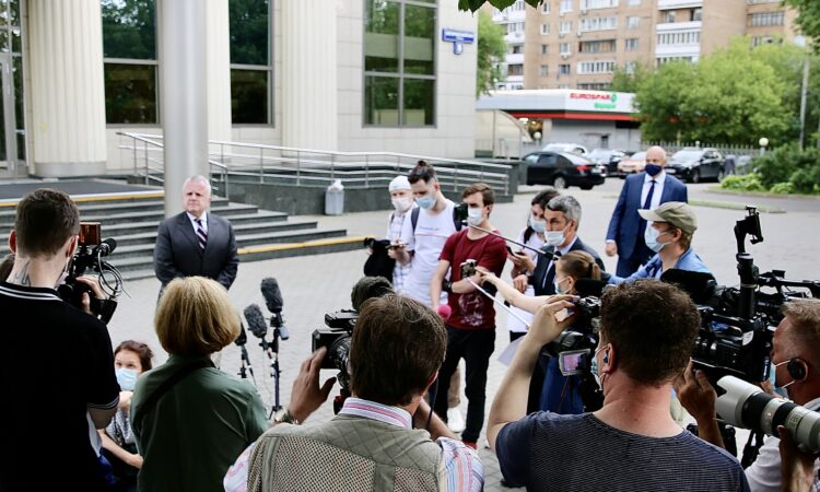 Ambassador Sullivan speaking with journalists upon the Appeal Hearing of U.S. Citizen Trevor Reed at Moscow City Court
