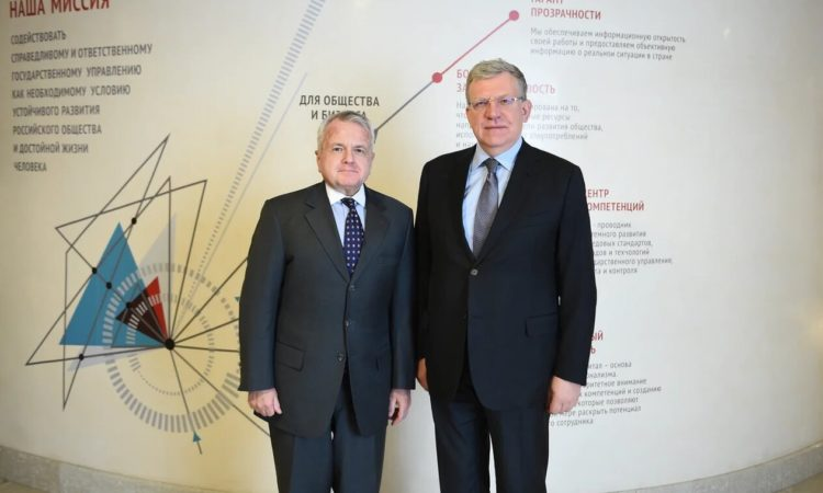 Ambassador John Sullivan meets with Chairman of the Accounts Chamber of the Russian Federation Aleksey Kudrin on Feb. 6, 2020. Photo courtesy of the Accounts Chamber.