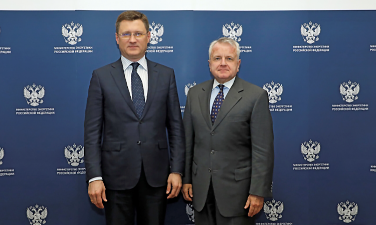 Ambassador John Sullivan meets with Minister of Energy of the Russian Federation Alexander Novak on February 6, 2020. Photo courtesy of MinEnergo.gov.ru