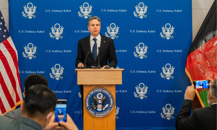 Secretary of State Antony J. Blinken holds a press availability in Kabul, Afghanistan on April 15, 2021. [State Department photo]