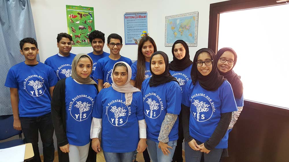 group of Bahraini students, participating in the 2016-2017 Kennedy-Lugar Youth Exchange & Study (YES) Program