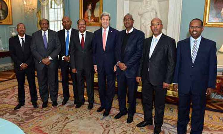 Secretary Kerry and Djboutian Delegation posing for picture. (Photo Credit: State Department)
