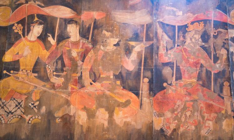 Mural depictions, Old Panjakent site, Tajikistan.