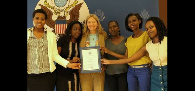 Ambassador Erica Barks-Ruggles with alumnae of the U.S. government's TechWomen
