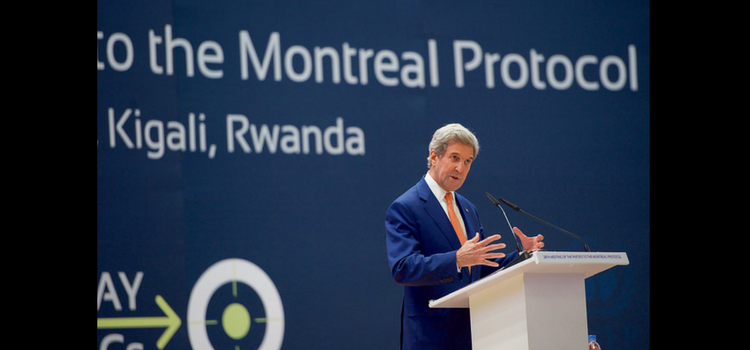 Secretary of State John Kerry addressing the 28th Meeting of the Parties to the Montreal Protocol that was held in Kigali, Rwanda.