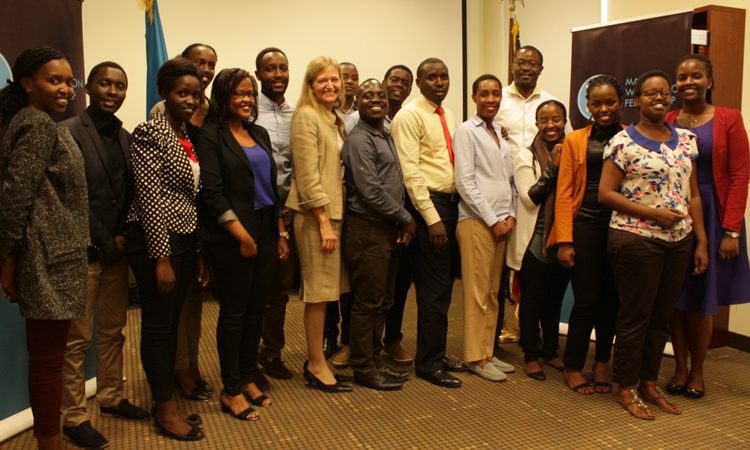 U.S. Ambassador to Rwanda Erica J. Barks-Ruggles with Young Rwandan Leaders selected to participate in the fourth annual Young African Leadership Initiative.