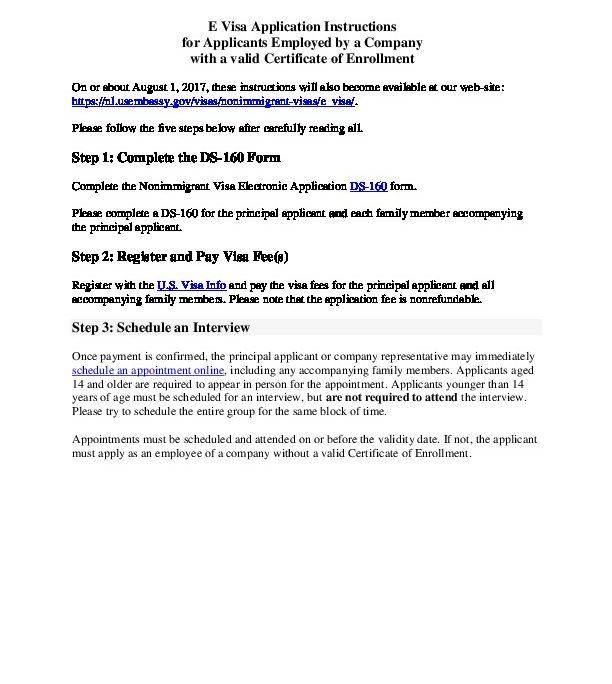 E visa app instructions - CoE company | U S  Embassy and Consulate