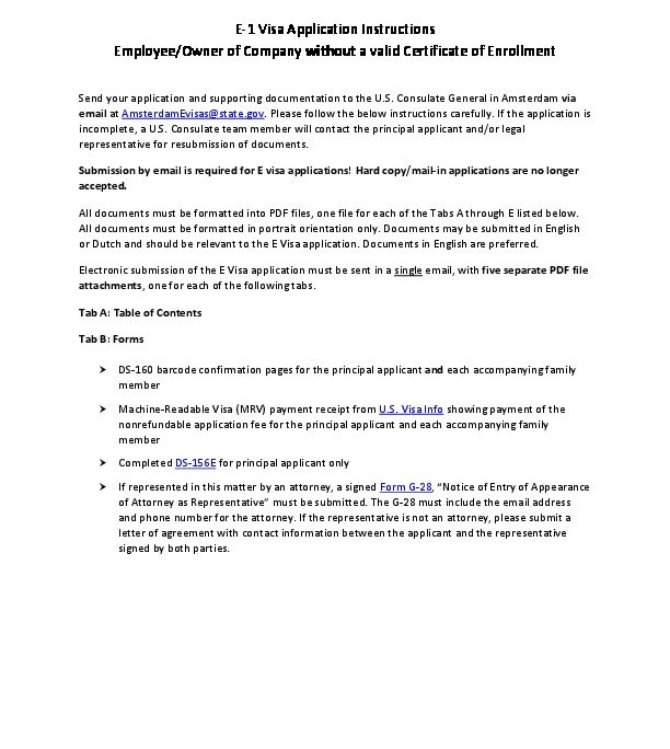 Instructions for E1 Application Visa Without Certificate of