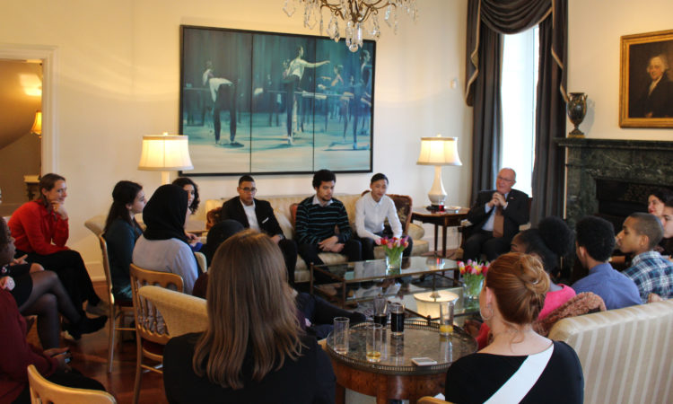 "Ambassador Hoekstra hosts 10 participants of the third IMC Weekend School's ""Ambassador's Training"" program"