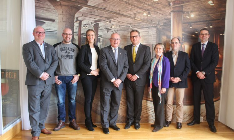 Ambassador Hoekstra visits Bier&cO, one of Europe's leading importers of U.S. craft beer. From Left to right: Rik Kempen, Bier&cO; Peter van der Arend, Beer Temple; Stephanie Heijning, Albert Heijn; Ambassador Pete Hoekstra; Gaius Voûte, Bier&cO; Susan Phillips, US Embassy; Bas Besselink, Bier&cO; Marcel Pinckaers, US Embassy.