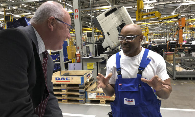Ambassador Hoekstra speaks with the only American Employee of DAF Trucks
