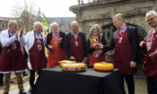 Ambassador Hoekstra at cheese market in Gouda