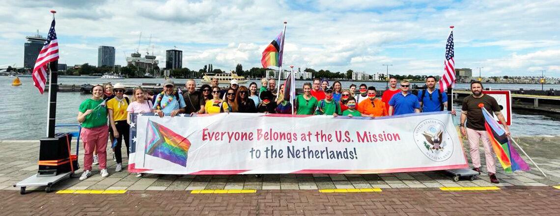 U.S. Mission community joins Amsterdam's Pride Walk