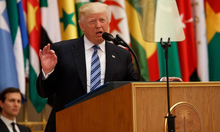 President Donald Trump delivers a speech to the Arab Islamic American Summit, at the King Abdulaziz Conference Center in Saudi Arabia. (AP Photo/Evan Vucci)