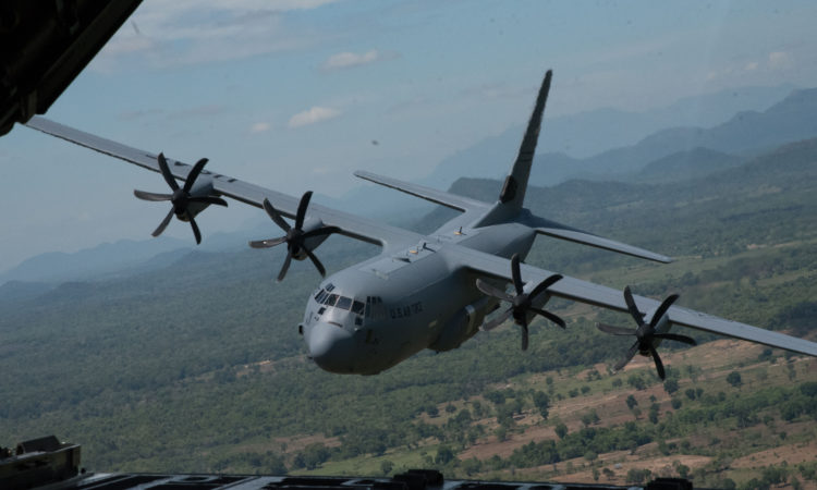 U.S. Air Force C-130J Super Hercules participating in the exercises of the Pacific Airlift Rally 2017. U.S. and Sri Lanka Air Forces co-hosted the biennial Pacific Air Forces-sponsored exercise in Sri Lanka Sept. 11-15, 2017.