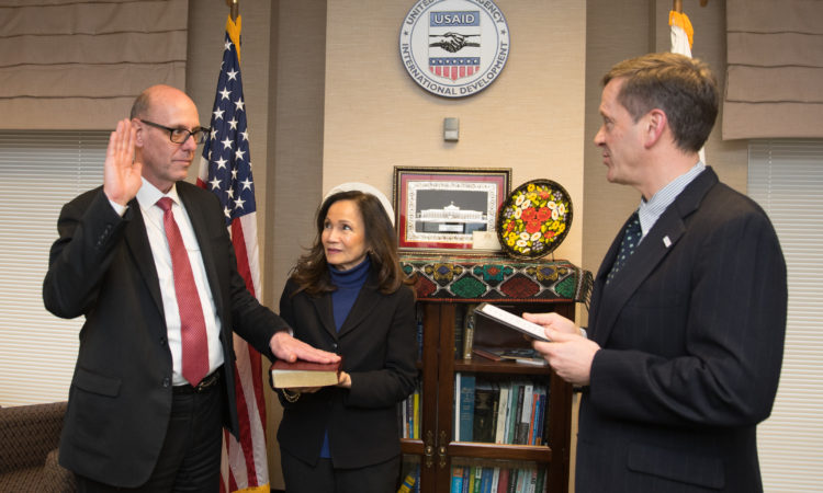 Reed Aeschliman, a career member of the Senior Foreign Service, being sworn in as Mission Director for USAID/Sri Lanka & Maldives by USAID's Administrator, Mark Green.