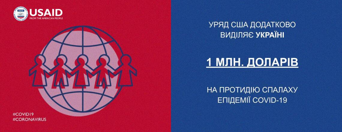USAID додатково виділяє Україні 1 млн. доларів США на протидію спалаху COVID-19