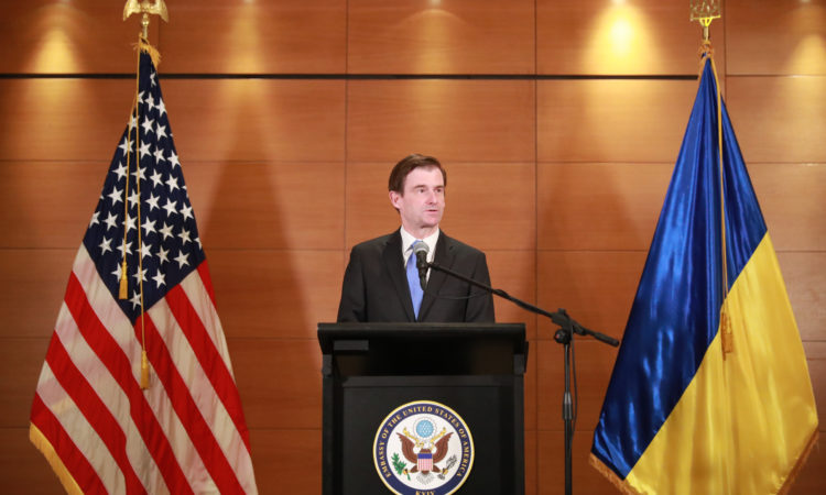 U.S. Under Secretary of State for Political Affairs David Hale delivers remarks at a press conference in Kyiv