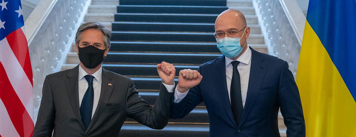 Secretary Antony J. Blinken & Ukrainian Prime Minister Denys Shmyhal Before Their Meeting