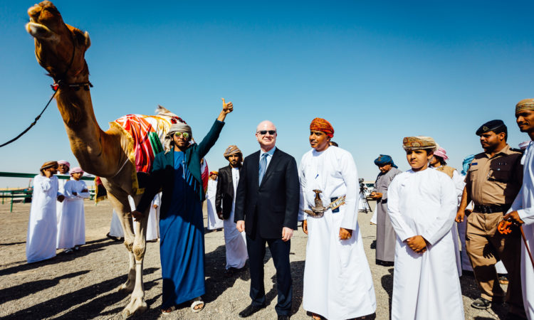 Sievers poses for a photo with the winning Camel at the Annual Came Beauty Contest in Hamrah Al Dorou'