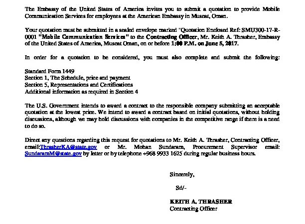 Contract Solicitation Archives   U S  Embassy in Oman