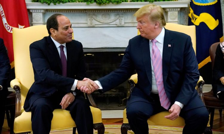 U.S. President Donald Trump meets with Egypt President Abdel Fattah al-Sisi at the White House in Washington, U.S., April 9, 2019. REUTERS/Kevin Lamarque
