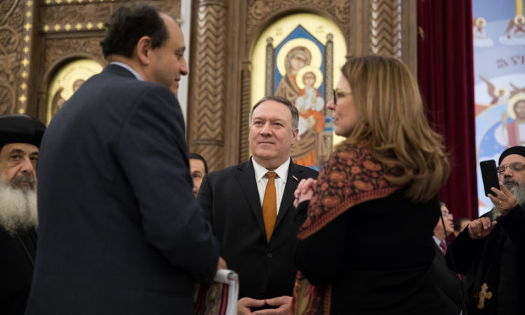Secretary and Mrs Pompeo listening to the Cathedral tour guide